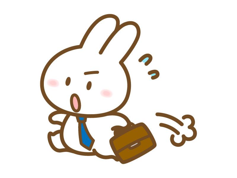 慌てて走るビジネスマンのうさぎ うさぎのフリー素材 By